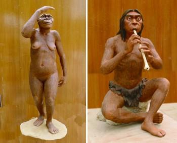 300만~350만 년 전 인류 '오스트랄로피테쿠스 아파렌시스'(왼쪽). 침팬지만 한 두뇌를 가졌고 도구를 쓰지 못했다. 오른쪽은 현생인류 모형. - 과학동아 제공
